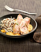 Red mullet fillets with creamy pepper sauce and rice