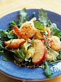 Shrimp,apple,celery and sesame seed salad