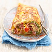 Bayonne ham,vegetable and Espelette pepper rolled omelette