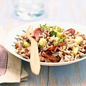 Reispfanne mit Chorizo und Zucchini