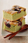 Pistachio and cherry soft cake