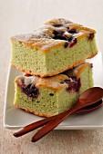 Pistachio and cherry soft cake