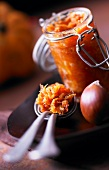 Spoonful of pumpkin and chestnut chutney