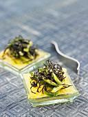 Tapas mit Polenta und Arame-Algen