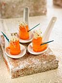 Carrot, hummus and alfafa appetizers