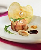 Tuna Timbale with slices of raw red tuna