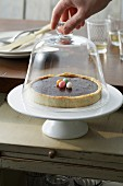 Chocolate tart under a glass dome