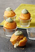 Muffins with almond filling and pistachio topping
