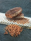 Grating a cocoa bean