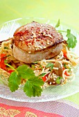 Asian-flavored veal steak