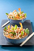 Carrot, beansprout and shrimp salad