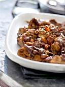 Stewed rabbit with raisins