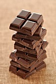 Stacked squares of chocolate