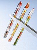 Food products in test tubes