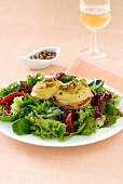 Hot goat's cheese salad