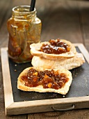 Apricot,almond,onion and ginger chutney