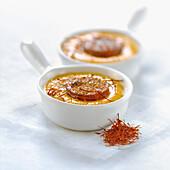 Chorizo-saffron Crème brûlée