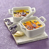 White chocolate and candied violet Crème brûlée