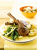 Lamb chops with herbs and vegetables