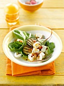 Mixed salad with grilled eggplants,lychees and feta