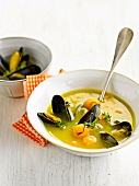 Mussel soup with fennel,saffron and butternut squash balls