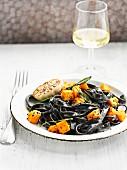 Black pasta with roast squash,sage and garlic