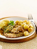 Veal escalope with Marsala and lemon sauce