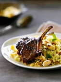 Caramelized roast chops and semolina with cashews