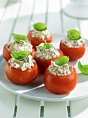Tomatoes stuffed with ricotta,bacon and oregano