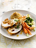 Stuffed roast turkey in poppyseed crust ,cashew sauce,caramelized vegetables and puree