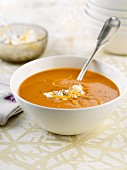 Pumpkin soup with cottage cheese
