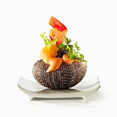 Urchin with salmon and fish roe