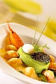Pea flan with caviar and crayfish