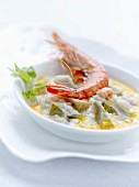 Risotto with small artichokes and shrimps