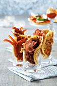 Coppa-mozzarella blinis,chorizo and pepper blinis