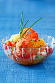 Citrus fruit and gambas salad with pink peppercorns
