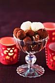 White and dark chocolate truffles