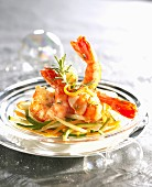 Shrimps with aniseed,rosemary and thinly sliced vegetables