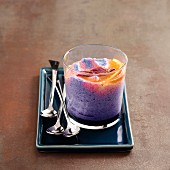 Red cabbage mousse with citrus fruit french dresing