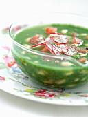 Radish top and green bean soup