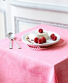 Panna cotta with raspberries and Sherry vinegar