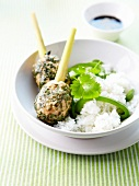 Miced chicken and herb meatballs ,white rice with green peppers
