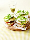 Halloumi,tomato,capers and rocket open sandwiches