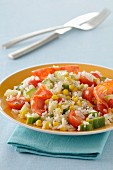 Long grain rice,chorizo,corn,cucumber and tomato salad