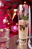 White chocolate mousse with pistachios and meringue topping