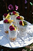 Panacotta with peaches and mint jelly