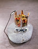 Anchovy and grilled vegetable Verrine