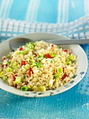 Pan-fried quinoa with spring onions and Del piquillo peppers