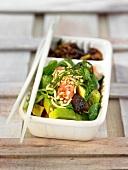 Avocado, tomato, prune and buckwheat salad