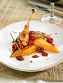 Pheasant with stewed pumpkin and summer fruit